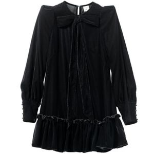 New H&M X The Vampires Wife Black Velvet Bow Dress